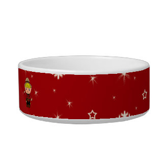 Personalized name mountie red snowflakes pet water bowl