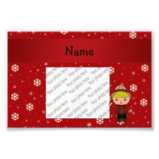 Personalized name mountie red snowflakes photo print