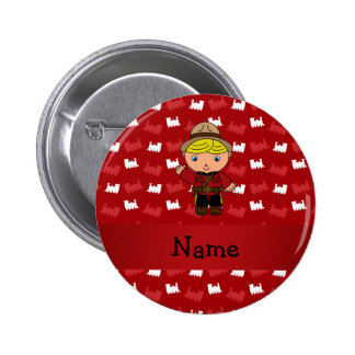 Personalized name mountie red trains pinback button