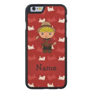 Personalized name mountie red trains carved® maple iPhone 6 case