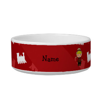 Personalized name mountie red trains pet food bowls