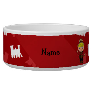 Personalized name mountie red trains dog food bowls