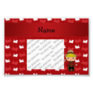 Personalized name mountie red trains photo print