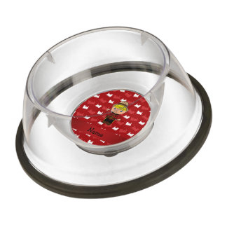 Personalized name mountie red trains pet bowl