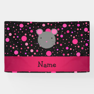 Personalized name mouse black pink polka dots banner