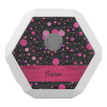 Personalized name mouse black pink polka dots white boombot rex bluetooth speaker