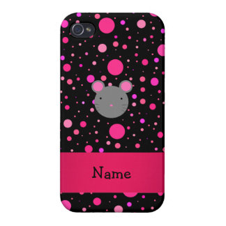 Personalized name mouse black pink polka dots iPhone 4/4S case