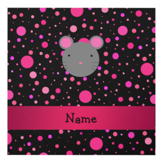 Personalized name mouse black pink polka dots panel wall art