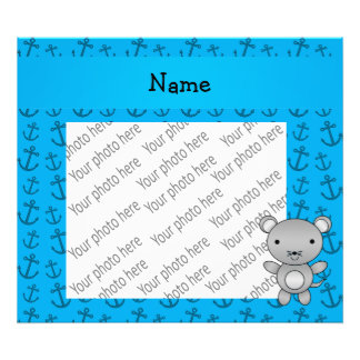 Personalized name mouse blue anchors pattern photo art