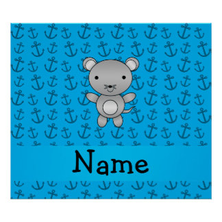 Personalized name mouse blue anchors pattern print