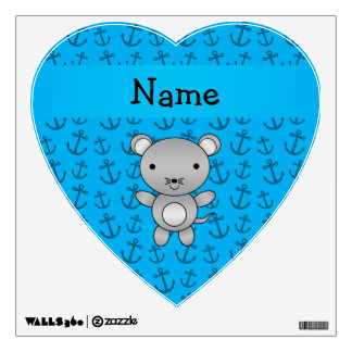 Personalized name mouse blue anchors pattern room sticker