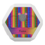 Personalized name mouse face rainbow stripes white boombot rex bluetooth speaker