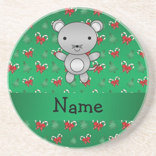 Personalized name mouse green candy canes bows beverage coaster