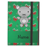 Personalized name mouse green candy canes bows iPad folio case