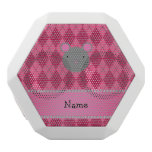Personalized name mouse pink argyle white boombot rex bluetooth speaker