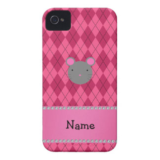 Personalized name mouse pink argyle iPhone 4 Case-Mate cases