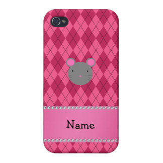Personalized name mouse pink argyle covers for iPhone 4