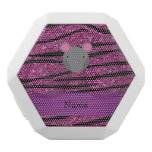 Personalized name mouse pink glitter zebra stripes white boombot rex bluetooth speaker