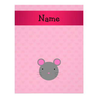 """Personalized name mouse pink hearts 8.5"""" x 11"""" flyer"""