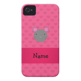 Personalized name mouse pink hearts blackberry case