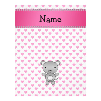 """Personalized name mouse pink hearts polka dots 8.5"""" x 11"""" flyer"""