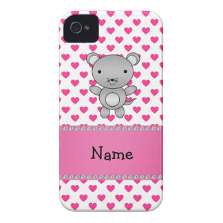 Personalized name mouse pink hearts polka dots blackberry bold covers