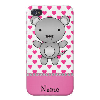 Personalized name mouse pink hearts polka dots case for iPhone 4