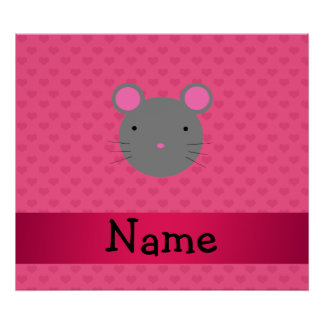 Personalized name mouse pink hearts poster
