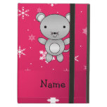 Personalized name mouse pink snowflakes iPad folio case