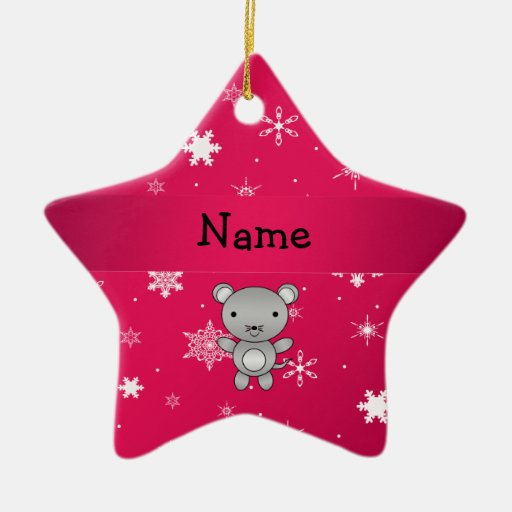 Personalized name mouse pink snowflakes christmas ornament