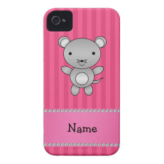 Personalized name mouse pink stripes Case-Mate iPhone 4 cases