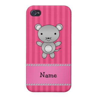 Personalized name mouse pink stripes cover for iPhone 4
