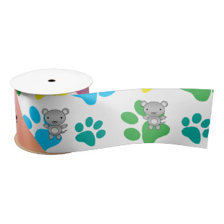 Personalized name mouse rainbow paws satin ribbon