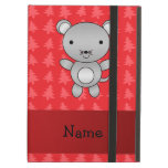 Personalized name mouse red christmas trees iPad folio cases