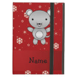 Personalized name mouse red snowflakes iPad cases