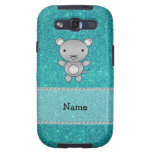 Personalized name mouse turquoise glitter galaxy s3 cases
