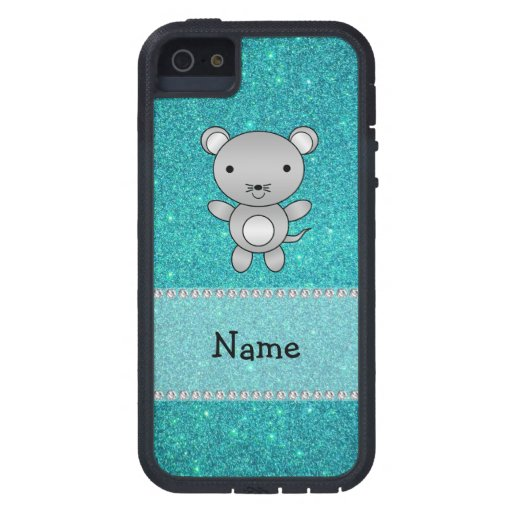 Personalized name mouse turquoise glitter iPhone 5 cases
