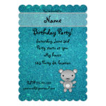 Personalized name mouse turquoise glitter 5x7 paper invitation card