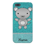 Personalized name mouse turquoise glitter iPhone 5 covers