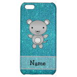 Personalized name mouse turquoise glitter iPhone 5C case