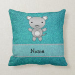 Personalized name mouse turquoise glitter throw pillow