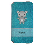 Personalized name mouse turquoise glitter incipio watson™ iPhone 6 wallet case