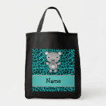 Personalized name mouse turquoise leopard tote bag
