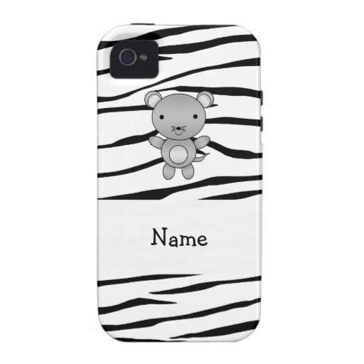 Personalized name mouse zebra stripes Case-Mate iPhone 4 covers