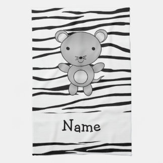 Personalized name mouse zebra stripes hand towels