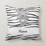 Personalized name mouse zebra stripes throw pillows