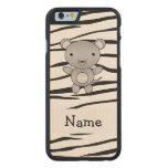 Personalized name mouse zebra stripes carved® maple iPhone 6 slim case
