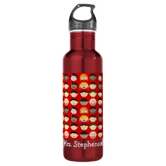 Personalized Name Multi-Cultural Children Teacher Water Bottle