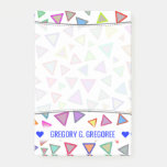 [ Thumbnail: Personalized Name; Multicolored Triangles Pattern Notes ]