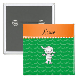 Personalized name mummy green bats 2 inch square button